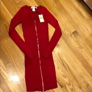 Red stretchy sweater dress with zipper.